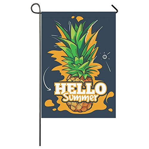 HUVATT Tropical Pineapple Palm Tree Polyester Garden Flag House Banner 28 x 40 inch, American California Los Angeles Decorative Flag for Party Yard Home Outdoor -