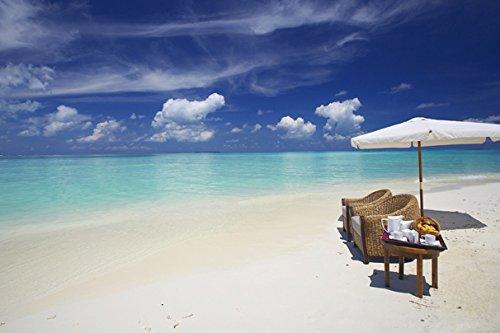 Pedecor poster Maldives Ocean Beach Sand Water Clouds Umbrel