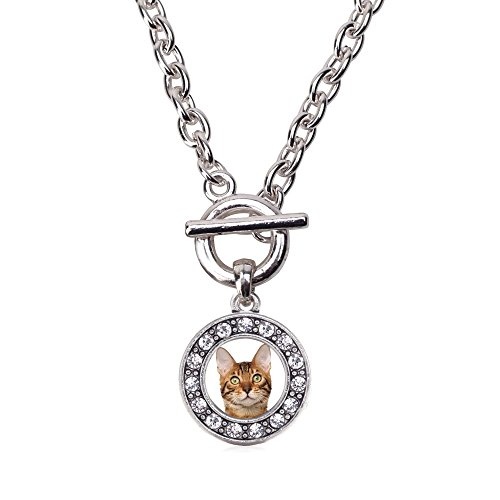 Inspired Silver Bengal Cat Circle Charm Toggle Necklace Clear Crystal Rhinestones