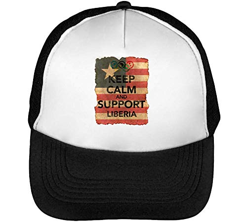Gorras Background Support Negro Liberia Calm Keep Blanco Hombre Beisbol Vintage Flag Snapback TqYSxw