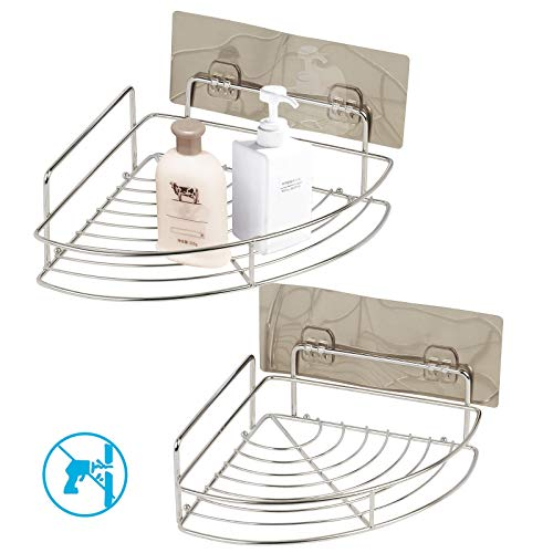 2 Pack Adhesive Corner Bathroom Shelves MEZOOM Stainless Steel Wall Mounted Shower Caddy Kitchen Rack Organizer Storage Basket with 2 Pcs Self Adhesive Hooks for Shampoo - Basket Wall Soap Mounted
