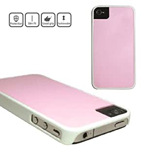 iCover-Carcasa trasera para Apple iPhone 4y 4S, color blanco/rosa
