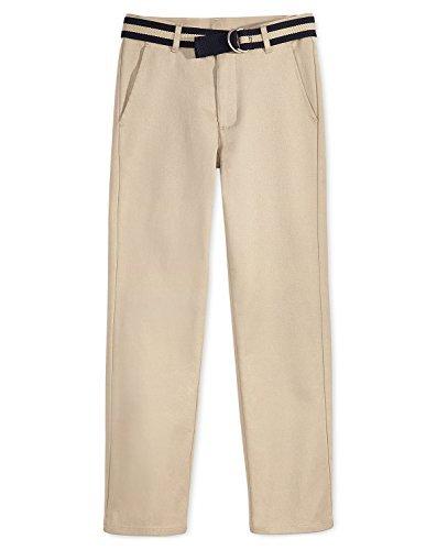 Nautica Boys Flat-Front Belted Twill Uniform Pants (Khaki, 20H)
