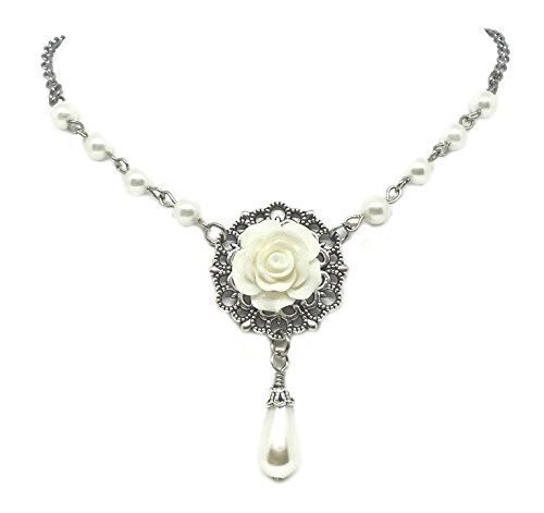 Romantic Choker Necklace with Rose on Filigree Base - Wedding Jewelry