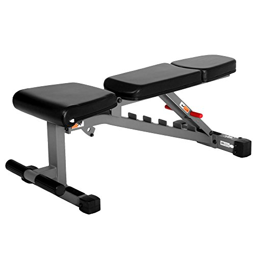 XMark Adjustable FID Weight Bench, 11 Gauge, 1500 lb. Capacity, 7 Back Pad Positions from Decline to Full Military Press Position, Ergonomic 3 Position Adjustable Seat, XM 7630 (Gray or White)