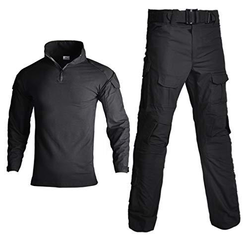 Uniforme militaire tactique camouflage pour homme avec chemise de combat + pantalon cargo genouillères 2