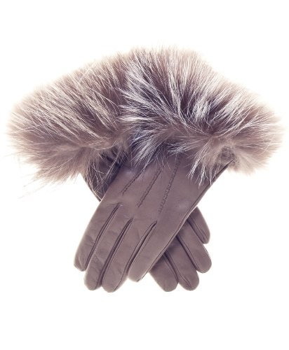 Fratelli Orsini Women's Italian Fox Fur Cuff Cashmere LIned Leather Gloves Size 6 Color Taupe by Fratelli Orsini
