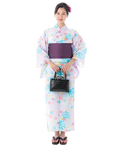 KYOETSU Women's Elegant Yukata Kimono 3 Piece-Set fy27 (Yukata/Obi/Getas) (FG-37(Obi:Deep Purple/White)) by KYOETSU