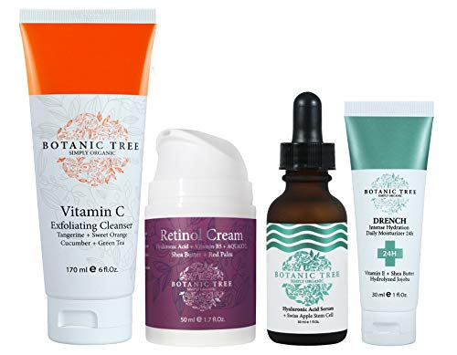 Anti Wrinkles Organic Treatment-From $56.70 for Just $29.9- Kit Botanic Tree for Face and Eyes - Retinol Cream+ Vitamin C Exfoliator+ Hyaluronic Acid+ Drench 24Hrs Hydration - 100% Organic Extracts.