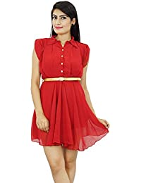 Above Knee Georgette Boho Dress Summer Casual Wears for Women Clothing