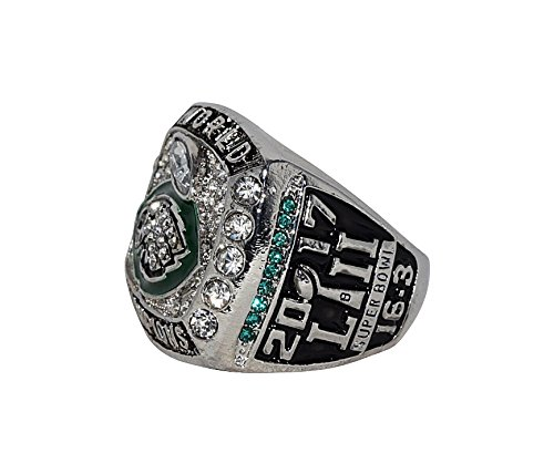 PHILADELPHIA EAGLES (Nick Foles) 2018 SUPER BOWL LII WORLD CHAMPIONS (MVP Award) Rare & Collectible Replica National Football League Silver NFL Championship Ring with Cherrywood Display Box