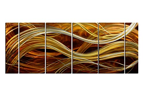 Yihui Arts Metal Art Wall Decor, Contemporary Warm Color Light Gold Brown Abstract Decorative Wall Accents for Modern Home Decor, Set of Six(Total Size 24x65IN) from Yihui Arts