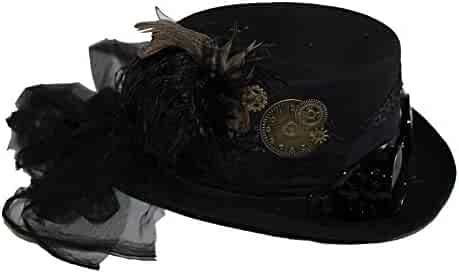 cbf05c9e89b7c8 Deluxe Velvet 4.25 Inch Steampunk Top Hat with Removable Goggles and  Feathers
