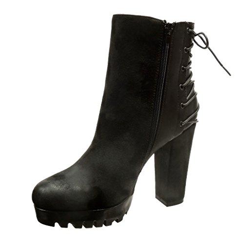 Angkorly - Zapatillas de Moda Botines bimaterial zapatillas de plataforma altas mujer cordones Talón Tacón ancho alto 11.5 CM - Negro
