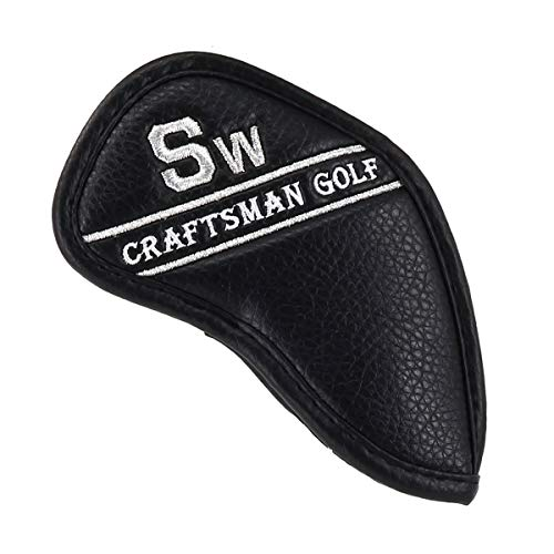 Single Craftsman - Craftsman Golf Black Synthetic Leather Golf Iron Head Covers Headcover with Colorful Number Embroideried #3#4#5#6#7#8#9 AW SW PW LW 1pc (SW)
