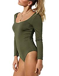 Women's Basic Solid Bodysuit Single Breasted Long Sleeve Bodycon Jumpsuit Stretchy Romper Leotard Tops