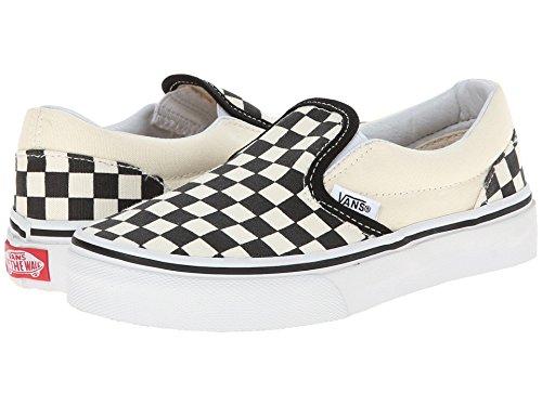 Vans Kids Classic Slip-On (Little Big Kid), (Checkerboard) Black/White, 1 M -