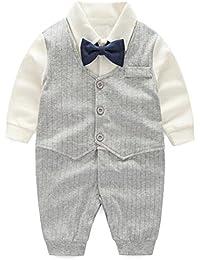 6ecf4c64e95e Baby Boy Gentleman Outfit Formal Onesie Tuxedo Dress Suit
