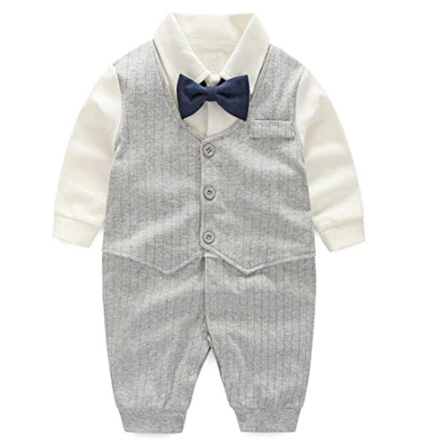 Fairy Baby Baby Boy Gentleman Outfit Formal Onesie Tuxedo Dress Suit,6-9M,Grey Stripe