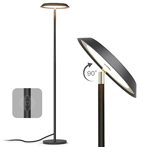 Floor Lamp, LED Dimmable Modern Tall Floor Lamps, Industrial Office Floor Lamp Standing Pole Light, TECKIN Touch Control Reading Light for Living Rooms Bedrooms Offices,3000K Warm White, 20W, Black ()