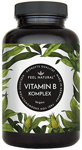Vitamin B Komplex Kapseln - Mit 500 µg Vitamin B12 pro Tagesdosis - Besonders hochdosiert (10x) - 180 vegane Kapseln im 6 Monatsvorrat. Mit bio-aktiven Vitamin B-Formen - Hergestellt in Deutschland