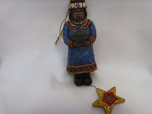 Christmas Nativity Ornament Wooden Whittled Wiseman 4.5