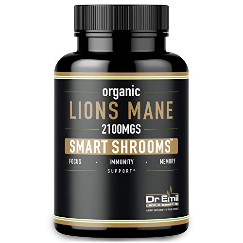 Organic Lions Mane Mushroom Capsules - 2100 mg Max Capsule Dose + Absorption Enhancer - Nootropic Brain Supplement & Immune System Booster (100% Pure Lions Mane Extract)