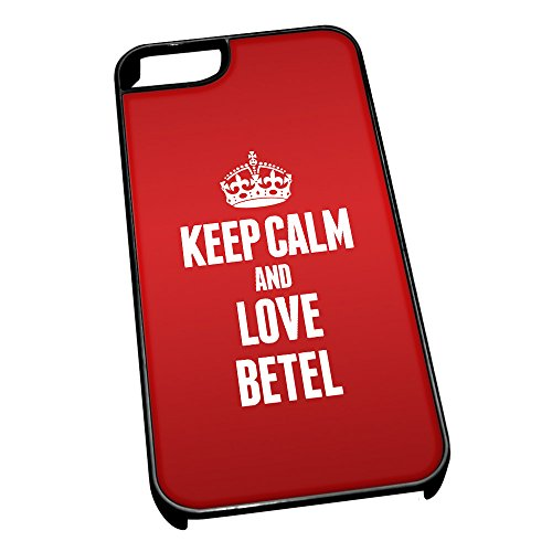 Nero cover per iPhone 5/5S 0818 Red Keep Calm and Love Betel