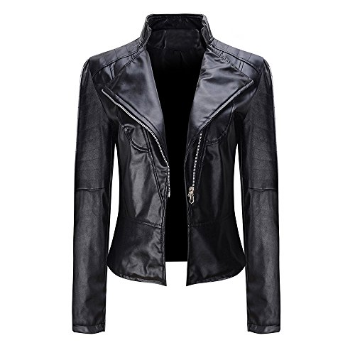 DongDong Clearance❤️Women's Motorcycle Biker Jacket,Fashion Perfectly Slim Zipper Studded Shaping Leather Short Coat