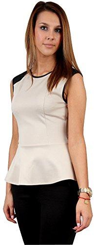 Talya Mujer Casual Elegante Peplo Camiseta Blusa 34 36 38 40 42 Beige