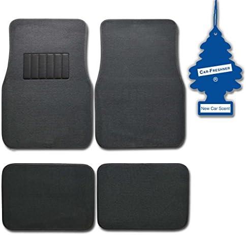 BDK MT-100-CC+Little Tree 4 Pc Universal Carpet Car Mats w/Heel Pad + Little Tree (New Car)