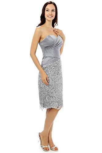 grigio grigio grigio motivo con lunghezza cuori ginocchio abiti lega a a a satinato a maniche colore al Dressvip giacca Prom UIxF8Twqn