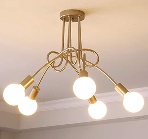 Ganeed Modern Chandelier, Mid-Century 5 Lights Gold Sputnik Pendant Lighting,Industrial Brushed Nickel Ceiling Light Fixture for Kitchen Dining Room Living Room,Chrome