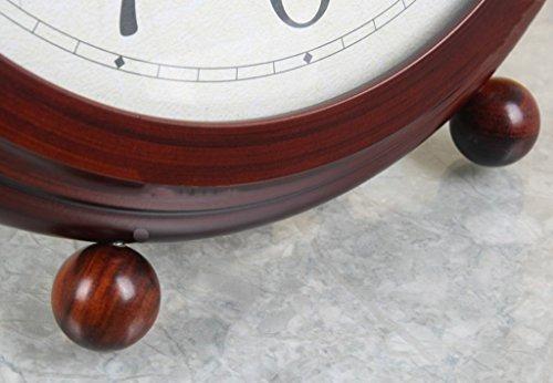 HAOFAY Desktop Clock, Vintage European Personality Brown Bedside Battery Powered Quartz Clock by HAOFAY (Image #5)