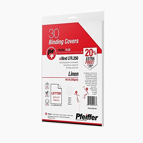 (Pfeiffer Linen Binding Covers Letter Size, 90 lb (250gsm) White, 30-Pack (R) (PFC2LI2501R2))