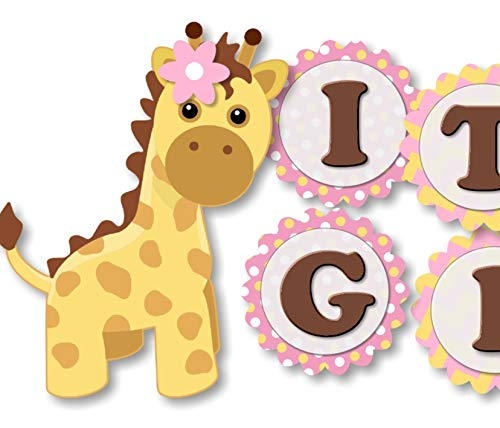 Pink and Gold Giraffe Baby Shower Banner Party Theme Decoration for Baby Girl