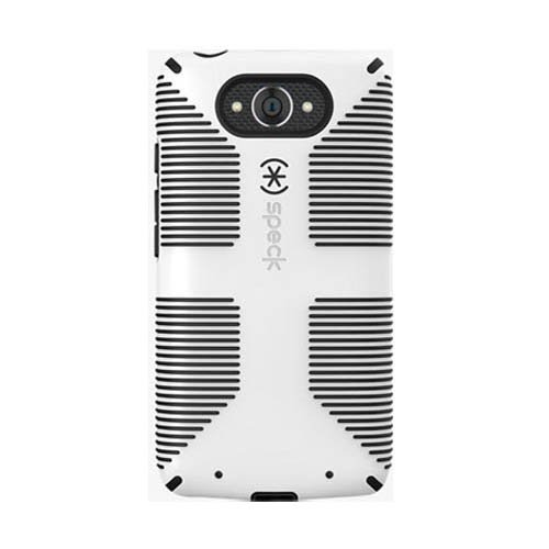 Turbo Rubber - Speck Candyshell Grip Rubber Protective Cell Phone Cover - Motorola Droid Turbo - White/Black - Retail Packaging