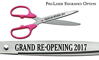 "Pre-Laser Engraved ""GRAND RE-OPENING 2015"" 36"" Silver Ceremonial Ribbon Cutting Scissors"