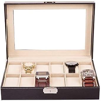 TRESKO® Caja para Relojes con 12 compartimentos, Buzón Memoria con tapa de cristal negro de piel sintética: Amazon.es: Relojes