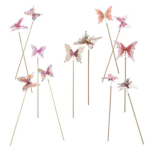 Fabric Vases (Roser Life Decorative Butterflies Garden Stakes Handmade Boho Floral Picks Pink (Pack of 12))