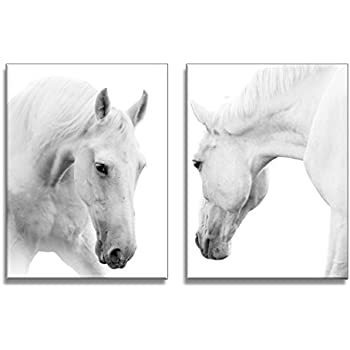 Youkuart qy0088 canvas wall art white horses picture painting on canvas print modern home decorations wall
