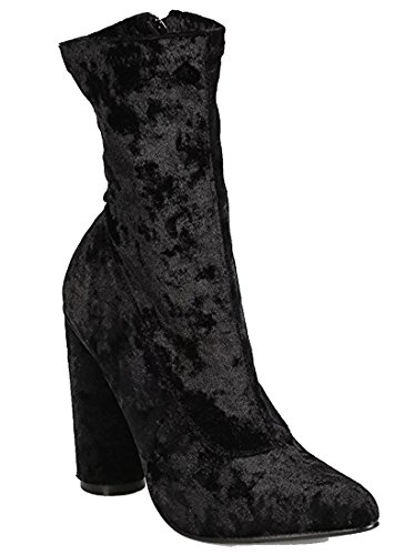 CAPE ROBBIN Women Velvet Mid-Calf Pointy Toe Circular Chunky Heel Boot Black vqimh4elMn