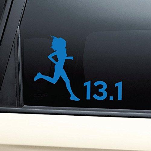 Nashville Decals 13.1 Marathon Female Runner Vinyl Decal Laptop Car Truck Bumper Window Sticker - Blue