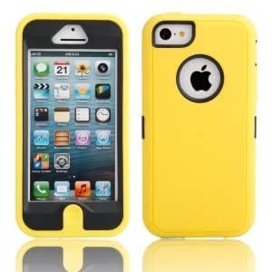 3-In-1 Robot Style Protective Case for iPhone 5C Black + Yellow