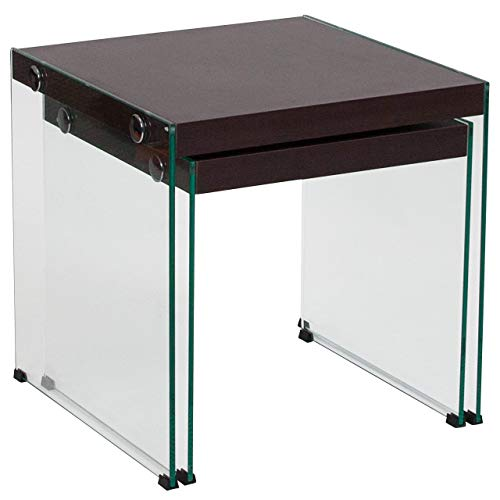 Flash Furniture Wynwood Collection Dark Ash Wood Grain Finish Nesting Tables with Glass Frame