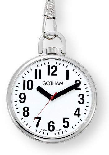 Gotham Men's Silver-Tone Ultra Thin Bold Number Open Face Quartz Pocket Watch # GWC15033S