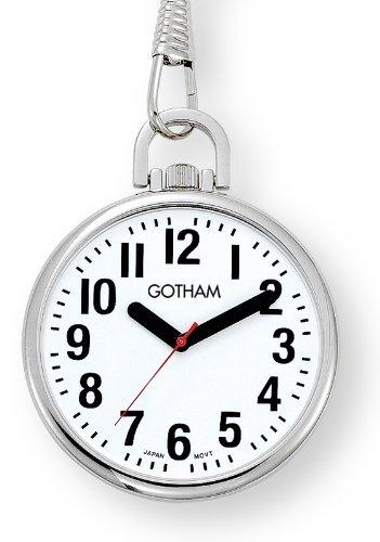 Chain Belt Tone Silver Link (Gotham Men's Silver-Tone Ultra Thin Bold Number Open Face Quartz Pocket Watch # GWC15033S)