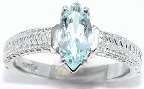 Simulated Aquamarine Marquise Ring .925 Sterling Silver Rhodium Finish