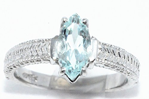 Aquamarine Marquise - Simulated Aquamarine Marquise Ring .925 Sterling Silver Rhodium Finish