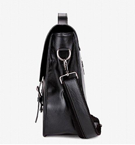 RENHONG Männer Retro Schnalle Schwarz Braun Mode Kunstleder Aktentasche Schultertasche Messenger Bag Business Office College Laptop Notebook Tasche Black